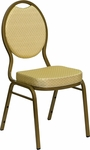 HERCULES Series Teardrop Back Stacking Banquet Chair with Beige Patterned Fabric and 2.5'' Thick Seat - Gold Frame [FD-C04-ALLGOLD-2811-GG]