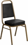 HERCULES Series Trapezoidal Back Stacking Banquet Chair with Black Vinyl and 2.5'' Thick Seat - Gold Frame [FD-BHF-1-ALLGOLD-BK-GG]