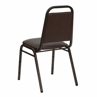 HERCULES Series Trapezoidal Back Stacking Banquet Chair In Brown Vinyl Copp
