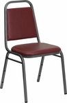 HERCULES Series Trapezoidal Back Stacking Banquet Chair with Burgundy Vinyl and 1.5'' Thick Seat - Silver Vein Frame [FD-BHF-2-BY-VYL-GG]
