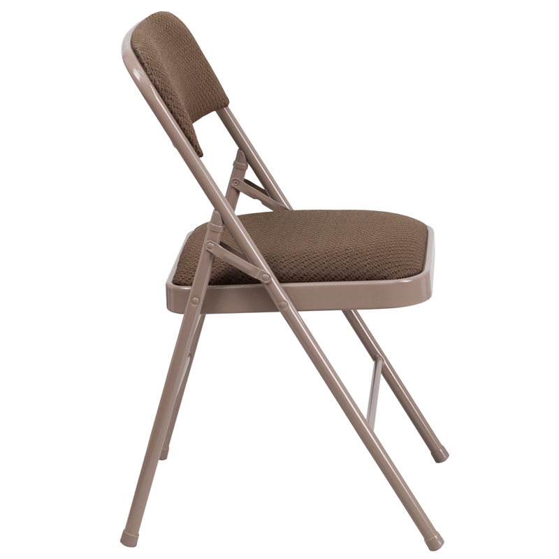 HERCULES Series Triple Braced Brown Fabric Upholstered Metal Folding Chair H