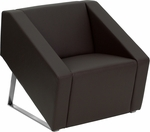 HERCULES Smart Series Brown Leather Reception Chair [ZB-SMART-BROWN-GG]
