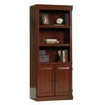 Heritage Hill 30''W x 71''H 3 Shelf Wooden Library with 2 Raised Panel Doors - Classic Cherry [102792-FS-SRTA]