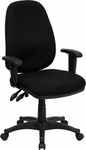 High Back Black Fabric Executive Ergonomic Swivel Office Chair with Height Adjustable Arms [BT-661-BK-GG]