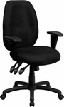 High Back Black Fabric Multi-Functional Ergonomic Executive Swivel Office Chair with Height Adjustable Arms [BT-6191H-BK-GG]