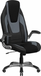 High Back Black & Gray Vinyl Executive Swivel Office Chair with Black Mesh Insets and Flip-Up Arms [CH-CX0326H02-GG]