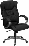 High Back Black Leather Executive Swivel Office Chair [BT-9088-BK-GG]