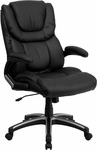 High Back Black Leather Executive Swivel Chair with Arms [BT-9896H-GG]