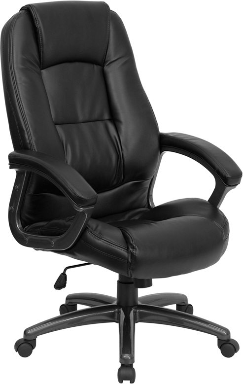 High Back Black Leather Executive Swivel Office Chair GO 7145 BK GG By Flash