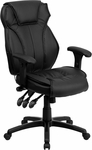 High Back Black Leather Executive Swivel Office Chair with Triple Paddle Control and Lumbar Support Knob [BT-9835H-GG]