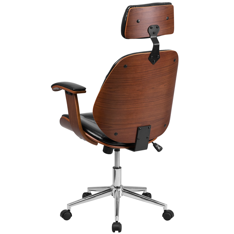 High Back Black Leather Executive Wood Swivel Chair With