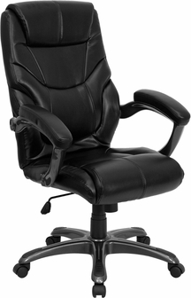 High Back Black Leather Overstuffed Executive Swivel Chair With Arms GO 724H