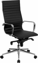 High Back Black Ribbed Upholstered Leather Executive Office Chair