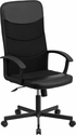 High Back Black Vinyl and Black Mesh Racing Executive Swivel Office Chair