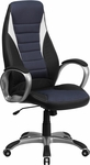 High Back Black Vinyl Executive Swivel Office Chair with Blue Mesh Inserts [CH-CX0243H-SAT-GG]