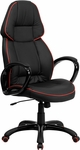 High Back Black Vinyl Executive Swivel Office Chair with Red Piping Border [CH-CX0248H01-VEN-GG]