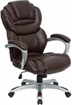 High Back Brown Leather Executive Swivel Office Chair with Leather Padded Loop Arms [GO-901-BN-GG]