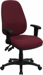 High Back Burgundy Fabric Executive Ergonomic Swivel Office Chair with Height Adjustable Arms [BT-661-BY-GG]