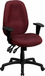 High Back Burgundy Fabric Multi-Functional Ergonomic Executive Swivel Office Chair with Height Adjustable Arms [BT-6191H-BY-GG]