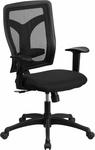 Galaxy High Back Black Designer Back Swivel Task Chair with Fabric Padded Seat and Adjustable Height Arms [WL-F062SYG-MF-A-GG]