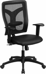 Galaxy High Back Black Designer Back Swivel Task Chair with Leather Padded Seat and Adjustable Height Arms [WL-F062SYG-LEA-A-GG]