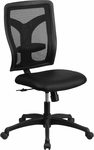 Galaxy High Back Black Designer Back Swivel Task Chair with Leather Padded Seat [WL-F062SYG-LEA-GG]