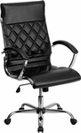 High Back Designer Black Leather Executive Swivel Office Chair with Chrome Base [GO-1297H-HIGH-BK-GG]
