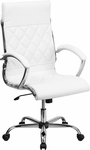 High Back Designer White Leather Executive Swivel Office Chair with Chrome Base [GO-1297H-HIGH-WHITE-GG]