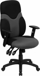 High Back Ergonomic Black and Gray Mesh Swivel Task Chair with Height Adjustable Arms [BT-6001-GYBK-GG]