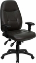 High Back Espresso Brown Leather Executive Swivel Office Chair