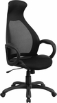 High Back Black Mesh Executive Swivel Office Chair with Leather Seat Insert [CH-CX0528H01-BK-LEA-GG]