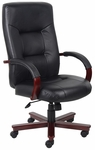 High Back Executive Italian Leather Office Chair with Padded Arms - Black [B8901-FS-BOSS]