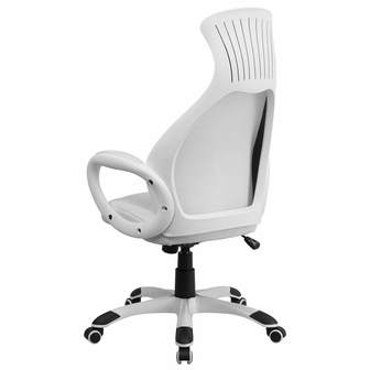 high back white mesh executive swivel office chair with leather