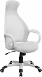 High Back White Mesh Executive Swivel Office Chair with Leather Seat Insert [CH-CX0528H01-WH-LEA-GG]