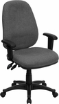 High Back Gray Fabric Executive Ergonomic Swivel Office Chair with Height Adjustable Arms [BT-661-GR-GG]