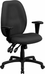 High Back Gray Fabric Multi-Functional Ergonomic Executive Swivel Office Chair with Height Adjustable Arms [BT-6191H-GY-GG]