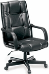 Leather Executive and Conference High-Back Chair - Black [520-L-FS-MFO]