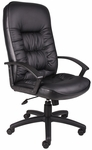 High Back LeatherPLUS Chair with Adjustable Tilt Tension - Black [B7301-FS-BOSS]