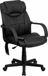 High Back Massaging Black Leather Executive Swivel Office Chair [BT-2690P-GG]