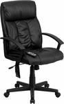 High Back Massaging Black Leather Executive Swivel Office Chair [BT-9578P-GG]