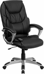 High Back Massaging Black Leather Executive Swivel Office Chair with Silver Base [BT-9806HP-2-GG]