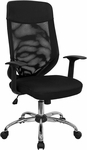 High Back Black Mesh Executive Swivel Office Chair with Mesh Padded Seat [LF-W952-GG]