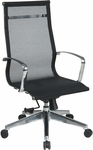 OSP Furniture High Back Screen Office Chair with Lumbar Support and Polished Aluminium Arms - Black [7360MLT-FS-OS]