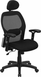 High Back Black Super Mesh Executive Swivel Office Chair with Mesh Padded Seat [LF-W42B-HR-GG]