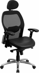 High Back Black Super Mesh Executive Swivel Office Chair with Leather Padded Seat and Knee Tilt Control [LF-W42-L-HR-GG]