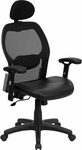 High Back Black Super Mesh Executive Swivel Office Chair with Leather Padded Seat [LF-W42B-L-HR-GG]