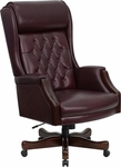 High Back Traditional Tufted Burgundy Leather Executive Swivel Office Chair [KC-C696TG-GG]