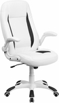 High Back White Leather Executive Swivel Office Chair with Flip-Up Arms [CH-CX0176H06-WH-GG]