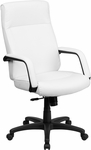 High Back White Leather Executive Swivel Office Chair with Memory Foam Padding [BT-90033H-WH-GG]