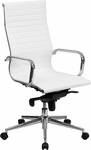 High Back White Ribbed Upholstered Leather Executive Swivel Office Chair [BT-9826H-WH-GG]